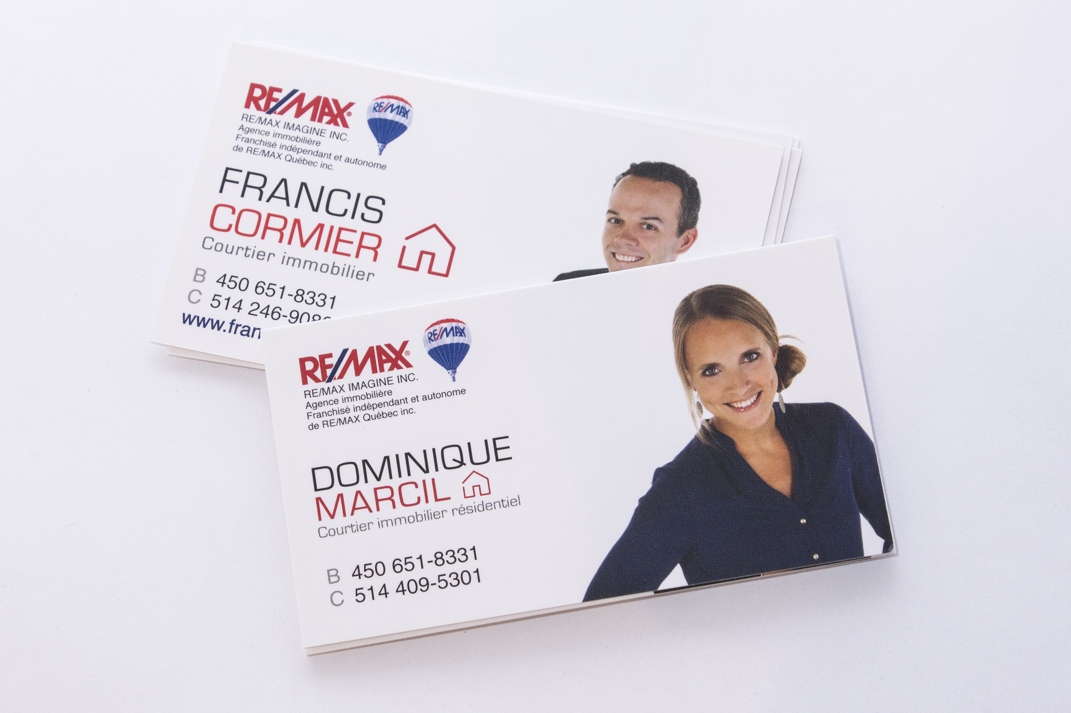 Cartes d'affaires Dominique Marcil et Francis Cormier Remax