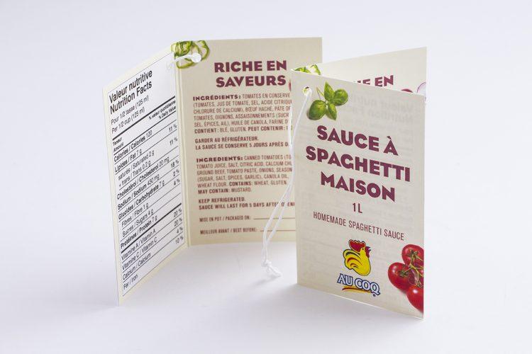 Étiquette sauce à spaghetti Au Coq